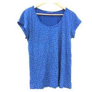 Fresh Produce Scoop Neck T shirt blue top XL